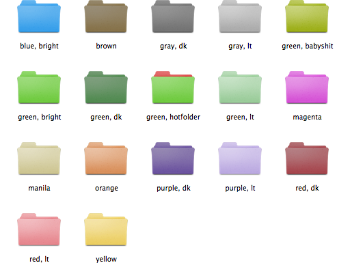 Colorized folder icon preview