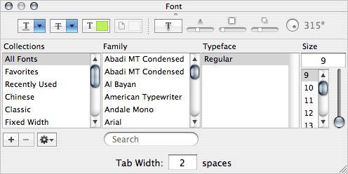 font panel: large