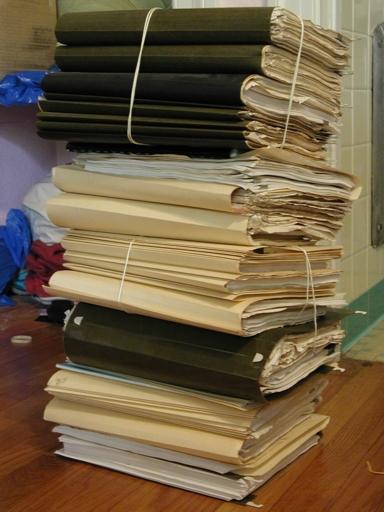 pile of work manuscripts