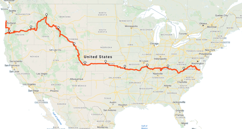 The Trans Am Route Map